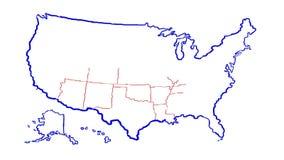 Estado unido del mapa de América con el estado libre illustration