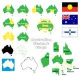 Estados australianos e bandeiras Fotografia de Stock Royalty Free