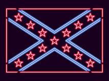 Estados confederados de la bandera de la señal de neón de América Vector stock de ilustración