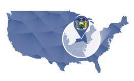Estados de Nova Iorque ampliados no mapa do Estados Unidos ilustração royalty free