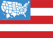 Estados do mapa 50 da bandeira dos EUA como estrelas Foto de Stock