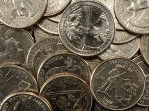 Estados Unidos acuñan cuartos en ahorros de un ahorro de la pila Imagen de archivo libre de regalías