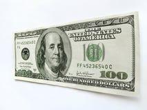 Estados Unidos cem notas de dólar com Ben Franklin Portrait Fotografia de Stock