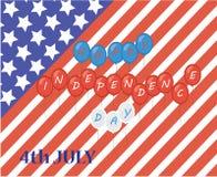 Estados Unidos da América feliz do cartão do Dia da Independência, 4o de julho, Fotografia de Stock Royalty Free