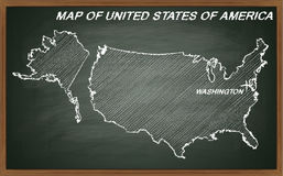 Estados Unidos da América no quadro-negro Fotografia de Stock Royalty Free