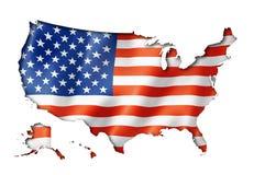 Estados Unidos embandeiram o mapa Fotografia de Stock Royalty Free