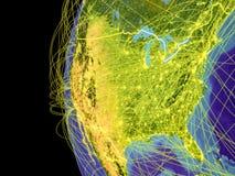 Estados Unidos en el globo del espacio ilustración del vector