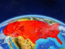 Estados Unidos en la tierra del espacio ilustración del vector