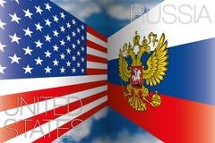 Estados Unidos EUA contra bandeiras de Rússia Foto de Stock