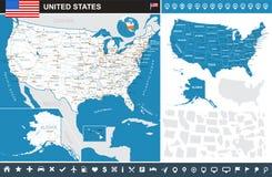 Estados Unidos (los E.E.U.U.) - mapa infographic - ejemplo ilustración del vector