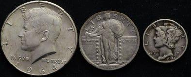 Estados Unidos platean mitad, el cuarto, y la moneda de diez centavos de la invención de los desperdicios Fotografía de archivo