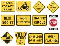 Estados Unidos que adverte sinais de estrada de MUTCD ilustração do vetor