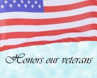 Estados Unidos señalan concepto del día por medio de una bandera de veteranos Imagen de archivo