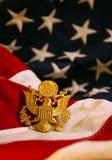 Estados Unidos señalan el fondo por medio de una bandera con el emblema del águila Foto de archivo