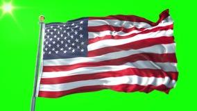 Estados Unidos señalan el vídeo de colocación inconsútil de la representación por medio de una bandera 3D El agitar hermoso del l stock de ilustración