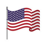Estados Unidos señalan por medio de una bandera con el viento que agita Imagen de archivo libre de regalías