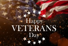 Estados Unidos señalan por medio de una bandera Concepto del día de veteranos Fotografía de archivo