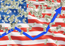 Estados Unidos señalan por medio de una bandera y los billetes de dólar que caen del techo Fotos de archivo