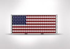 Estados Unidos se?alan por medio de una bandera representaci?n 3d envase stock de ilustración