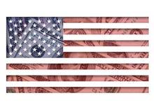 Estados Unidos señalan por medio de una bandera y los dólares Fotografía de archivo
