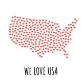 Estados Unidos trazan con los corazones rojos - símbolo del amor abstraiga el fondo ilustración del vector