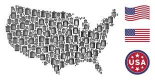 Estados Unidos trazan el collage del cubo de la basura ilustración del vector