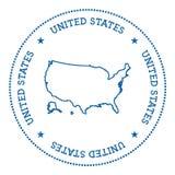 Estados Unidos vector la etiqueta engomada del mapa Imagenes de archivo