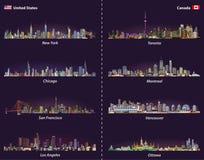 Estados Unidos y horizontes canadienses de la ciudad en el sistema del vector de la noche Imagen de archivo libre de regalías