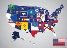 Estados y mapa capital de la bandera de Estados Unidos libre illustration