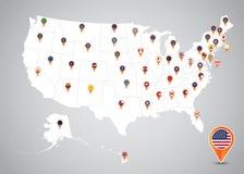 Estados y mapa capital del icono de la ubicación de la bandera de Estados Unidos ilustración del vector