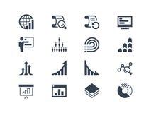 Estadísticas e iconos del informe Imagenes de archivo