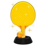 Estafa de tenis de mesa y trofeo de la bola Foto de archivo libre de regalías