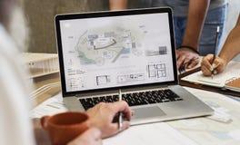 Estafa del ordenador portátil de Creative Occupation Blueprint del arquitecto del estudio del diseño Imágenes de archivo libres de regalías