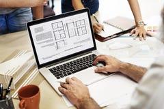 Estafa del ordenador portátil de Creative Occupation Blueprint del arquitecto del estudio del diseño Fotos de archivo