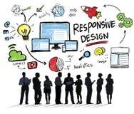 Estafa en línea de la comunicación empresarial del diseño del web responsivo de Internet Fotografía de archivo