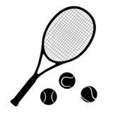 Estafa y bolas de tenis stock de ilustración