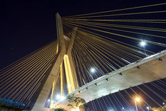 Estaiada Bridge Sao Paulo. Night Brazil stock photos