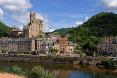 Estaing and Lot river Stock Photography