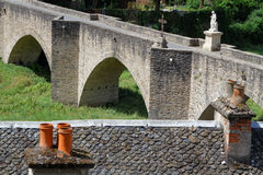 Estaing medieval bridge Stock Photo