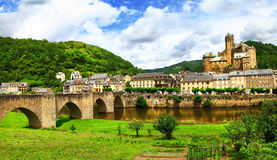 Estaing -one of the most picturesque villages Stock Image
