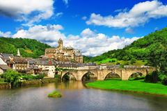 Estaing -one of the most picturesque villages Stock Photography
