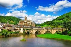 Estaing - un des villages les plus pittoresques photographie stock