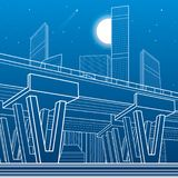 City architecture and infrastructure illustration, automotive overpass, big bridge, urban scene. Night town. White lines on blue b royalty free illustration