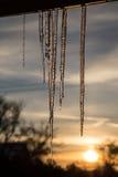 Estalactitas en la puesta del sol Imagen de archivo