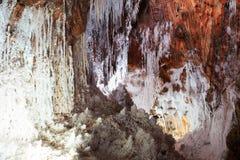 Estalactitas saladas naturales en la cueva de la sal Imagen de archivo