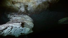 Estalactitas subacuáticas en cenote mexicano metrajes