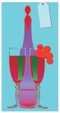 Estalar-arte-ainda-vida-frasco-wineglass-uva-videira Foto de Stock