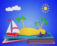 Estale acima o livro com iate e a ilha tropical no oceano Fotografia de Stock
