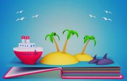 Estale acima o livro com modelos de papel do navio e das ilhas tropicais Fotos de Stock Royalty Free