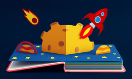 Estale acima o livro com Rocket In Space Fotos de Stock Royalty Free